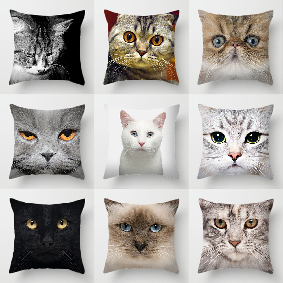 Cute Pet Cat Face Decorative Animal Cushion Cover Sofa Vintage Black And White Home Couch Pillows Case Living Room Decoration