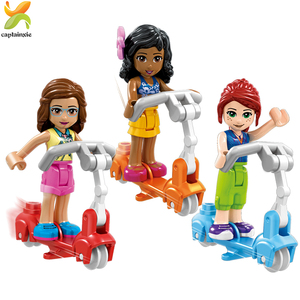 Image 5 - Princess Girls Friends Doll Cycling Scooter Team Figures Series Building Blocks Girl Toys For Children Gift
