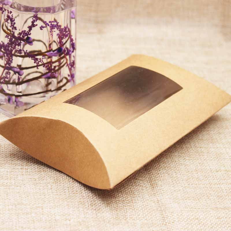 10pc 16*7*2.4cm brown/white/black cardboard pillow window box with clear pvc for proucts/gifts/favors/display packing show 7