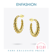 Enfashion Pure Form Twist Hoop Earrings Circle Gold Color Small Round Hoops Earings For Women Fashion Jewelry Aros EF181082