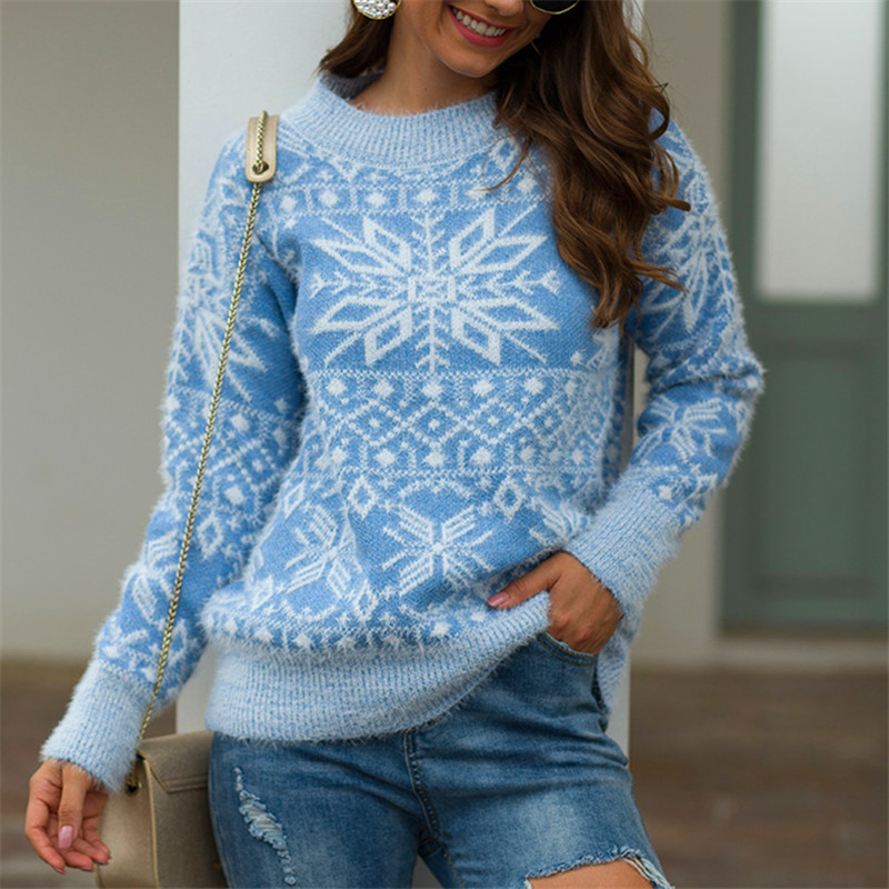 US $11.37 31% OFF|Christmas Sweater Women snowflake Print Sweaters 2020 Fall Winter Pullover O neck Female Long Sleeve Knitted Casual Jumpers