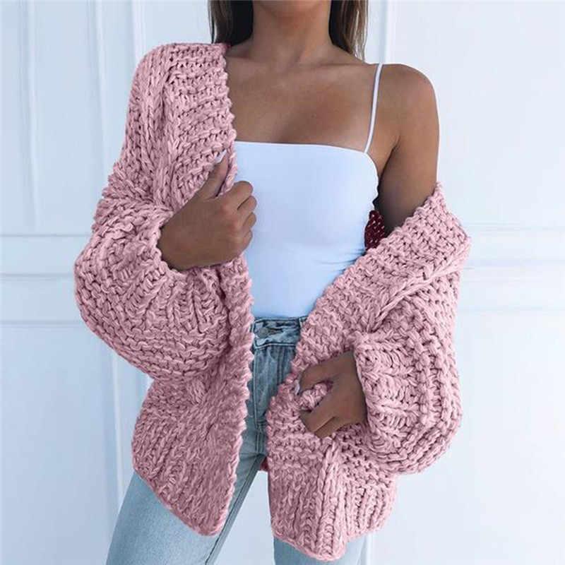 가을 겨울 긴 소매 니트 카디건 여성 부드러운 니트 스웨터 디자인 카디건 여성 점퍼 코트 핑크