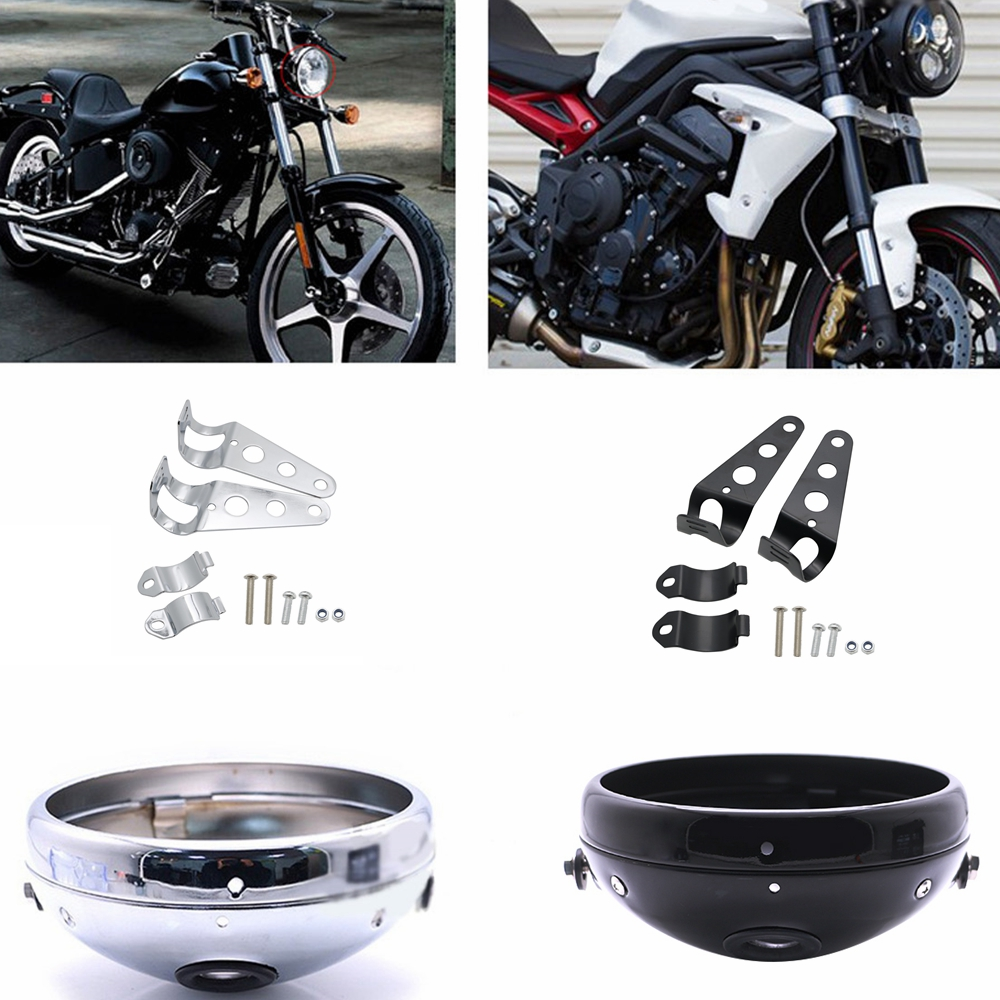 Inch Motorcycles Headlamp Headlight Housing Bucket For Honda Yamaha KAWASAKI Chopper Cafe Racer Bobbe