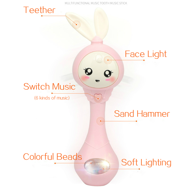 Baby Music Flashing Teether Rattle Toys Rabbit Hand Bells Mobile Infant Pacifier Weep Tear Newborn Early Educational Toys 0-12M 4