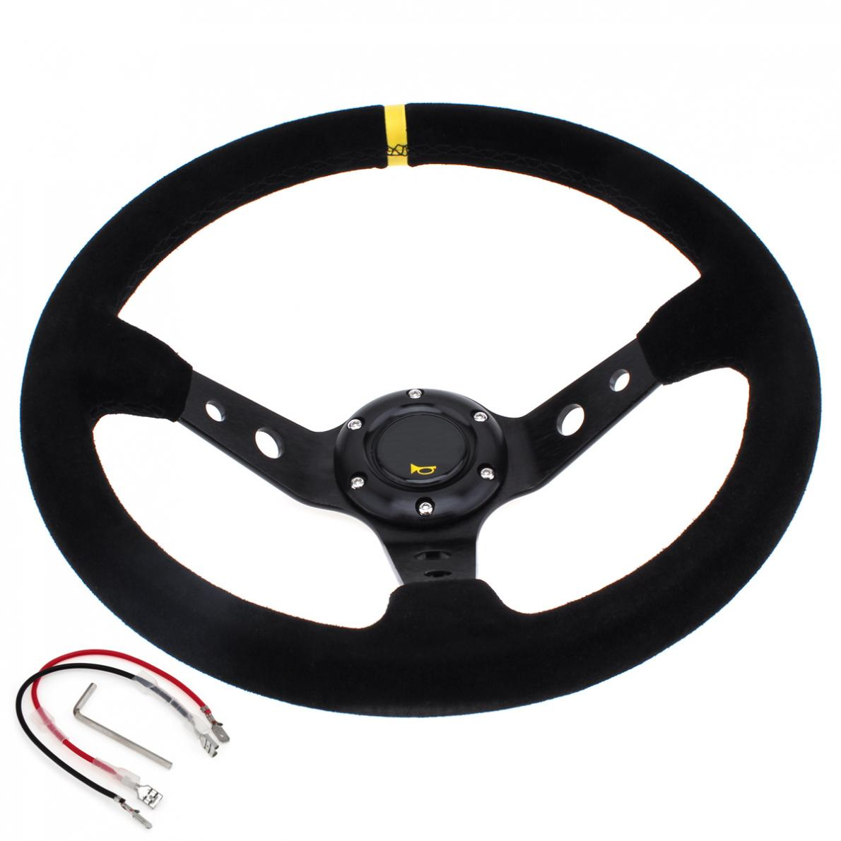 <font><b>14</b></font> Inch Universal Racing <font><b>Car</b></font> Steering <font><b>Wheel</b></font> 350mm Deep Dish Auto Steering <font><b>Wheel</b></font> with Suede Leather <font><b>Cover</b></font> image