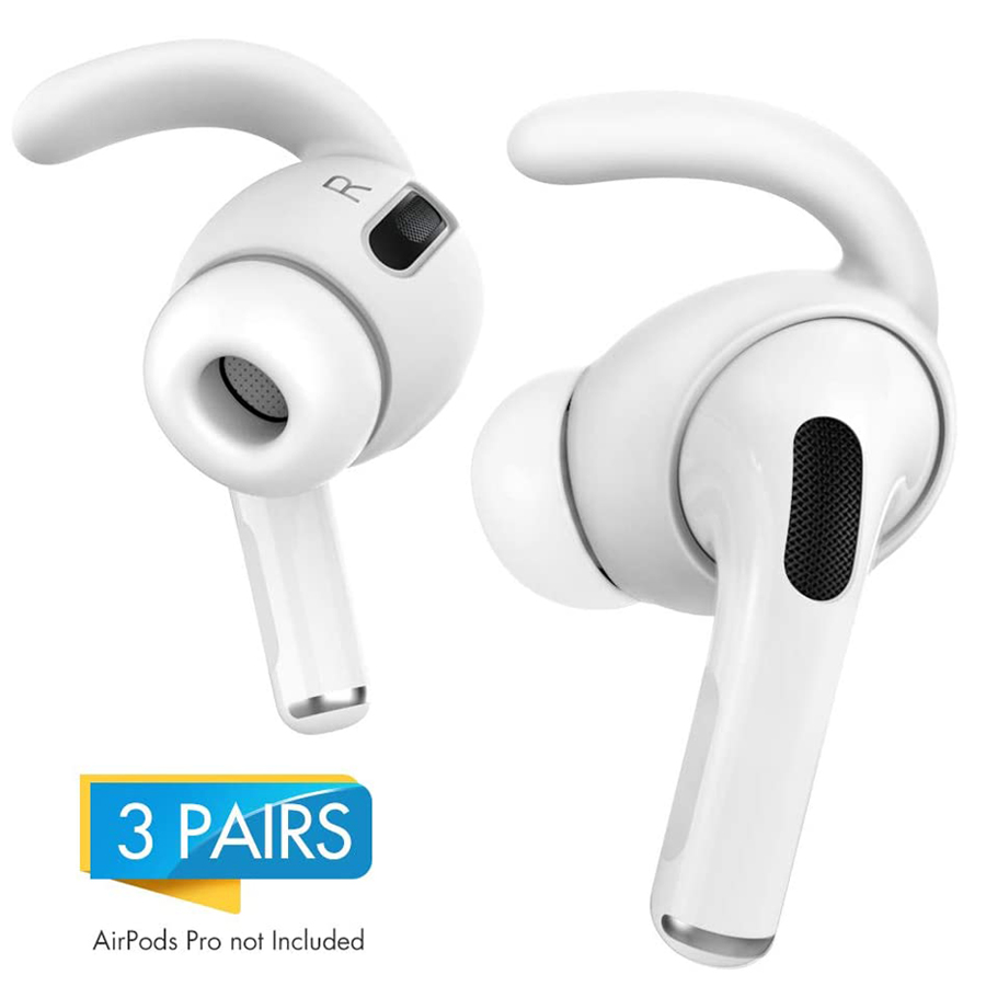 AhaStyle 3 Pairs Ear Hooks For AirPods Pro Anti-Slip Earbuds Covers Tips + Silicone Pouch Accessories For Apple AirPods Pro