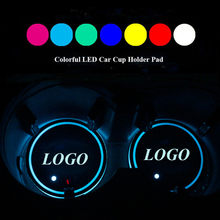 1Pair LED Car Cup Bottle Holder Pad Mat for PEUGEOT Peugeot Auto Coasters Interior Atmosphere Lights Colorful