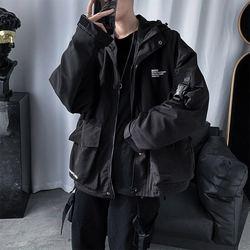 Tactical Carga Hip Hop Techwear Jaquetas Casacos Streetwear Cardigan Casual Bomber Casacos Com Capuz Carta Multi-bolso para Homens