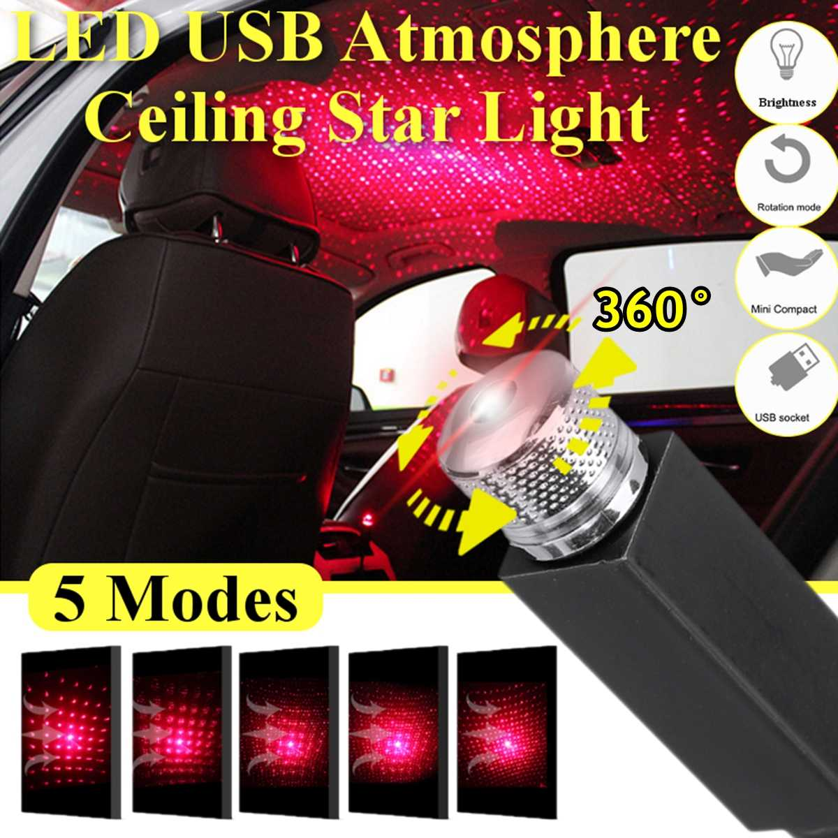 LED 5 Modes Usb Car Interior Atmosphere Ceiling Night Star Light Lamp Flexible Pipe Roof Decoration Red Purple Color Accessories