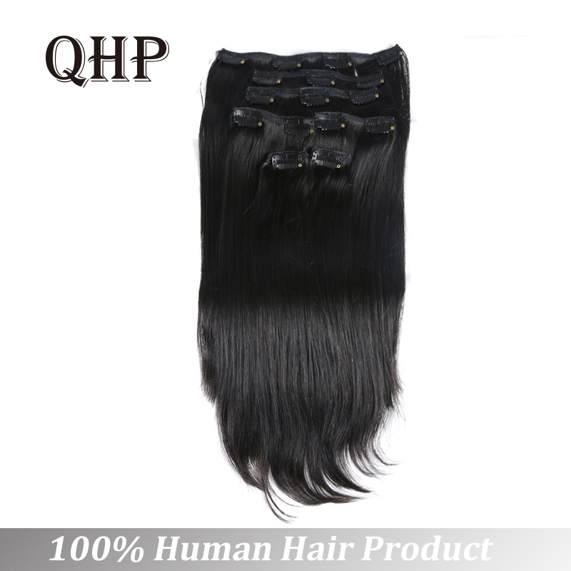 Full Head Brazilian Machine Made Remy Hair 70-120G 12inch-24inch Natural Straight Clip In Human Hair Extensions