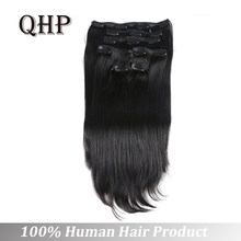 Full Head Brazilian Machine Made Remy Hair 70-120G 12inch-24inch Natural Straight Clip In Human Hair Extensions(China)