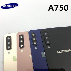 Image 2 - Задняя крышка для аккумулятора, сменный корпус для стеклянной двери + рамка для объектива задней камеры для Samsung Galaxy A7 2018 A750 A750F
