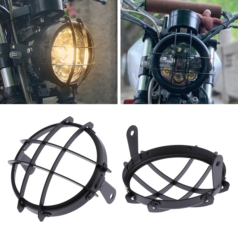 5 75        CNC Metal Retro Motorcycle Headlight Lamp Mesh Grille Cover Mask Universal For Honda Yamaha Suzuki KTM Cafe Racer