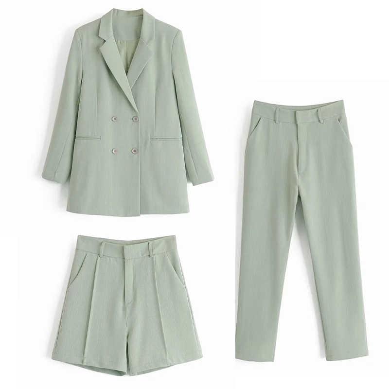 2020 春秋の女性カーキ 2 枚セットolオフィスブレザージャケットコート + 鉛筆パンツスーツカジュアルズボン衣装女性