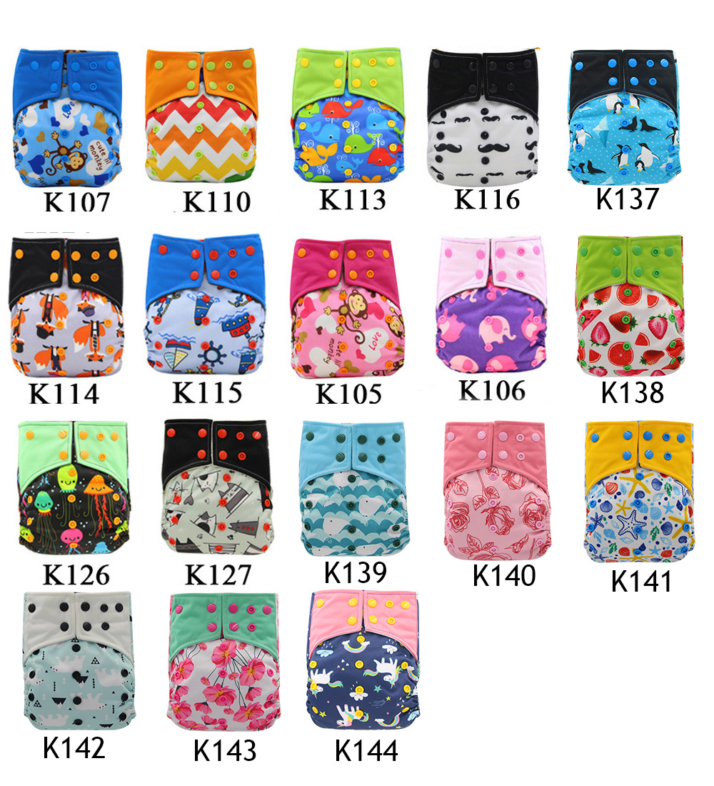 Wholesale Ohbabyka Reusable AI2 Cloth Diaper Baby Nappy Double Gusset Washable Pocket Cloth Diapers With Bamboo Insert 10pcs