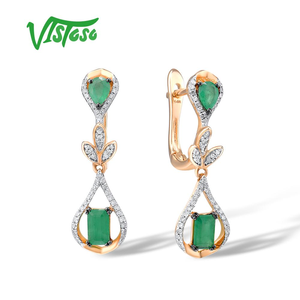 VISTOSO Gold Earrings For Women 14K 585 Rose Gold Glamorous Elegant Shiny Emerald Sparkling Diamond Luxury Trendy Fine Jewelry