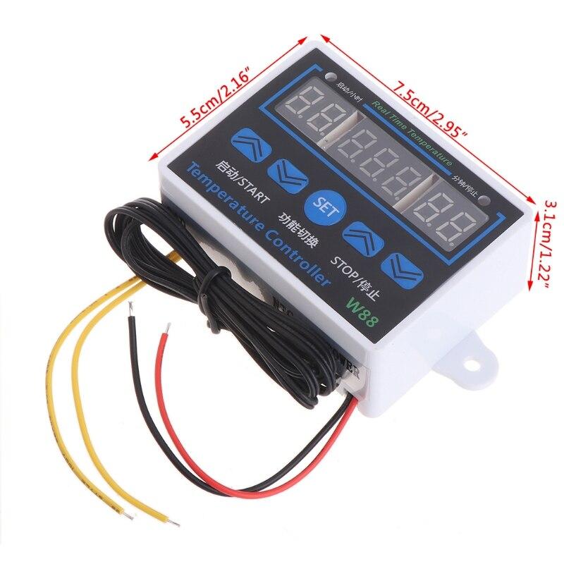 W88 12V/220V 10A цифровой светодиодный регулятор температуры, термостат, переключатель управления|Запчасти для электроводонагревателей|   | АлиЭкспресс