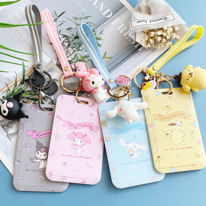 CARTOON ID Credit Bank Card Holder Students Bus Card Case Hand Rope Visit Door Identity Badge Cards Cover FOR Women Men Pendants