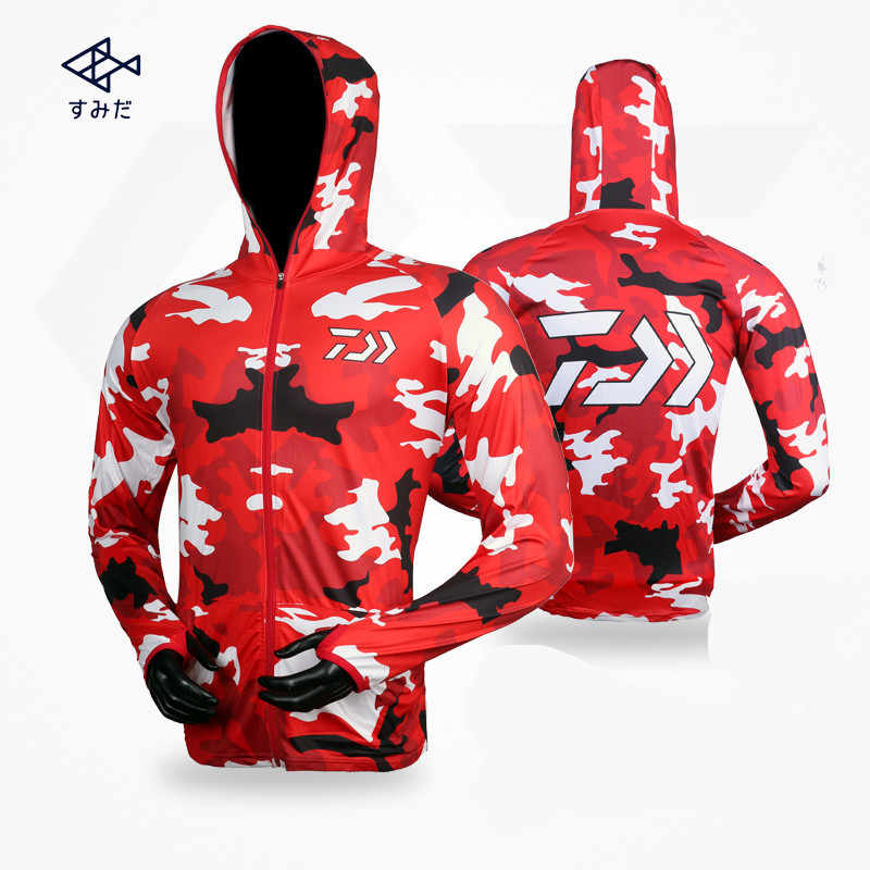 Men Sunscreen Fishing Suit Daiwa Long Sleeve Quick Dry Fishing Clothing Anti-UV Breathable Fishing Clothes Cycling Shirt