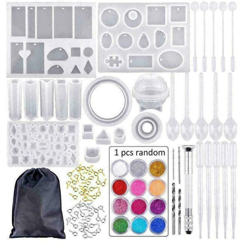 DIY Handmade Crystal Glue Mould Liquid Silicone Mold Set Resin Jewelry Pendant Mold Kit Decoration Tools 83/127/159/229Pcs