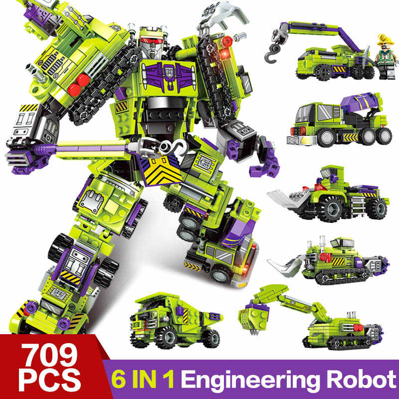 6 In 1 Mecha of Steel Transformation Brick Truck Engineering vehicle Compatible LegoINGly Building Block Set toys