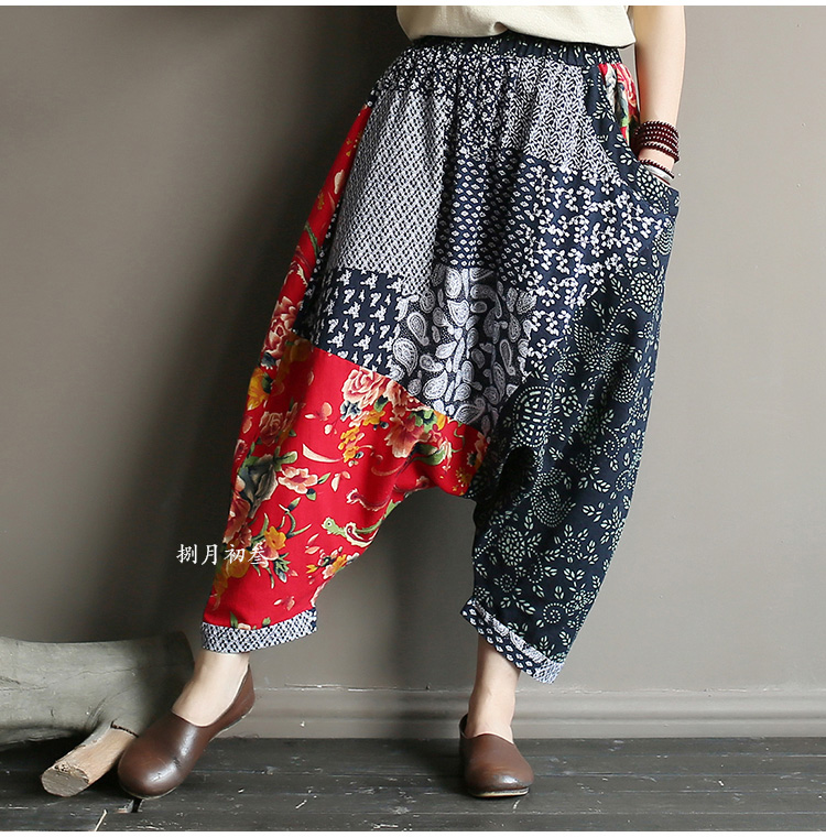 Original folk style women's retro stitching old cotton and linen material shift pants women loose large size baggy pants 41