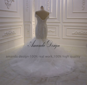 Image 4 - Amanda Design bruidsjurken Off Schulter Spitze Applique Meerjungfrau Hochzeit Kleid