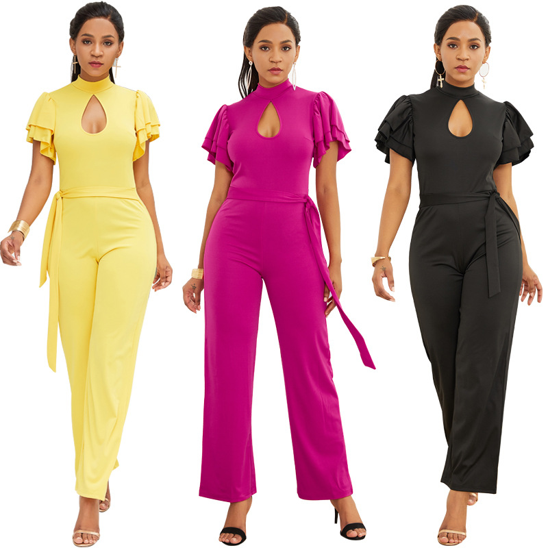 New High-necked Hollow Ladies Jumpsuit Double Ruffled Back Zipper Jumpsuit Woman Cloth  Straight  Solid  Polyester  Streetwear