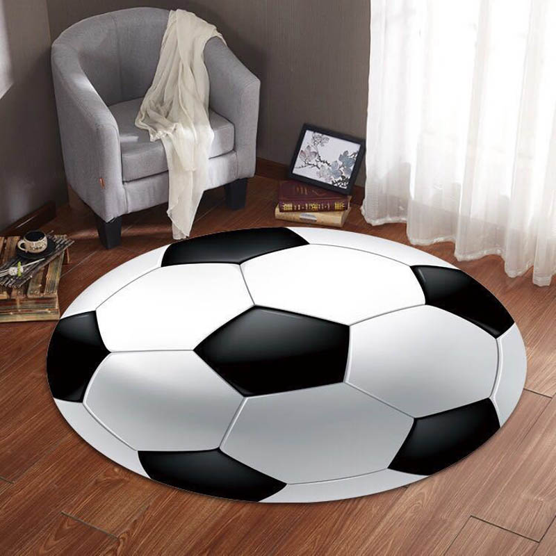 Anti Slip Round Carpet Computer Chair Pad Football Basketball Living Room Mat Children Bedroom Rugs Kids Room Decor