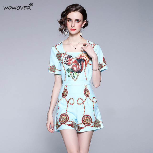 Women's Fashion Runway Two Piece Sets for Summer Elegant Lady Square Collar Print Top Suits with Shorts Casual Outfit Streetwear 3