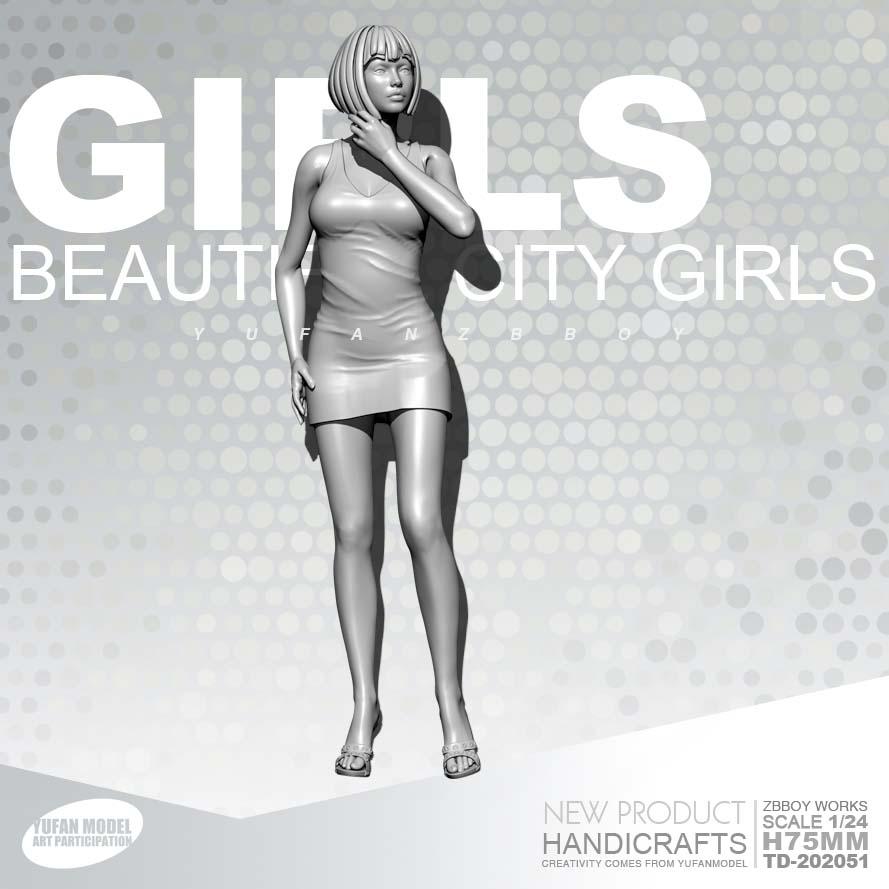 1/24 Resin Kits GIRLS Resin Fashion Girl Model Self-assembled TD-202051