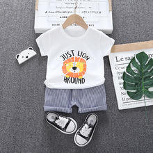 2pcs Baby Boy Summer Clothes Suit For Boy Pants + Cartoon T-Shirt Children Clothing Sets Casual Cotton Kids Clothes Suits Outfit cotton 2pcs newborn clothes cute cartoon baby boy clothes tops pants outfit suits baby tracksuit set t08