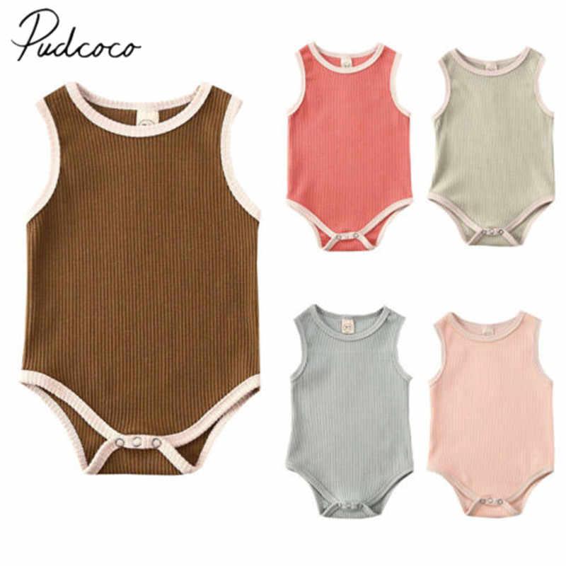 2020 Baby Zomer Kleding Baby Baby Jongen Meisje Kleding Mouwloze Jumpsuit Geribbelde Bodysuit Solid Outfit 3-24M