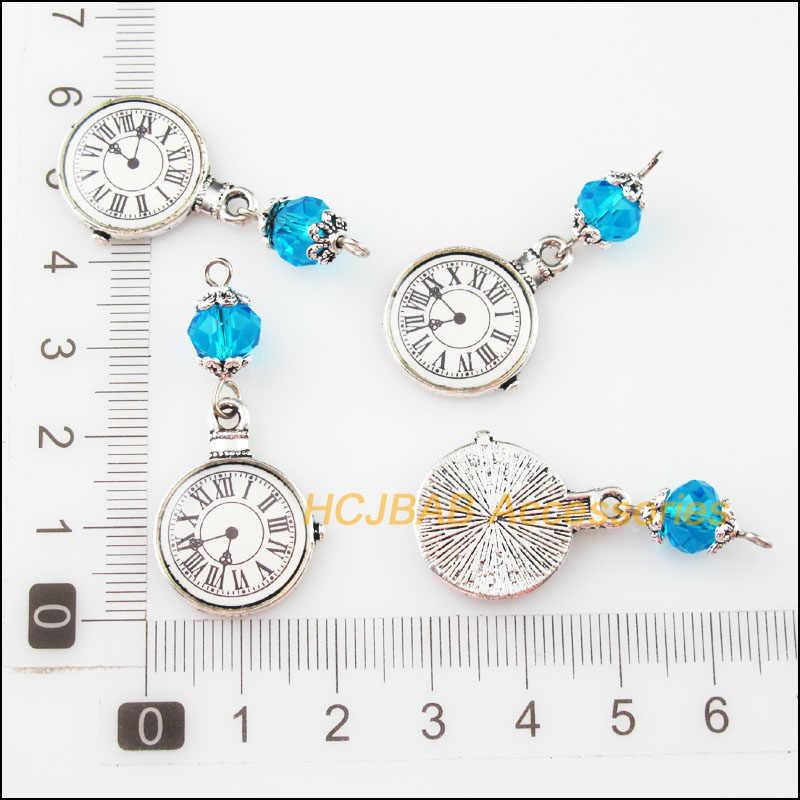 אופנה 3Pcs טיבטי כסף טון שמיים כחול קריסטל חרוזים שעונים שעונים קסמי תליונים