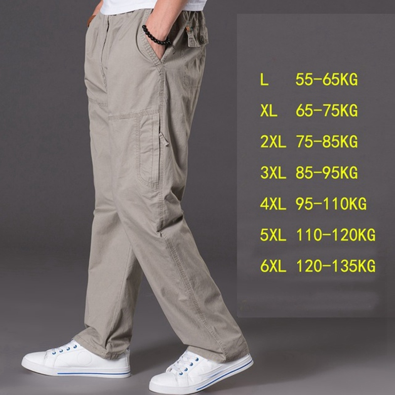 Image 3 - spring summer casual pants male big size 6XL Multi Pocket Jeans oversize Pants overalls elastic waist pants plus size men-in Cargo Pants from Men's Clothing