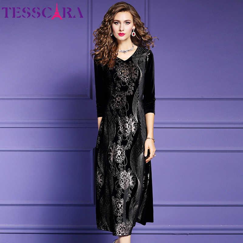 TESSCARA Vrouwen Winter Elegante Print Fluwelen Jurk Vrouwelijke Vintage Party Gewaad Hoge Kwaliteit Designer Cocktail Vestidos Plus Size 4XL