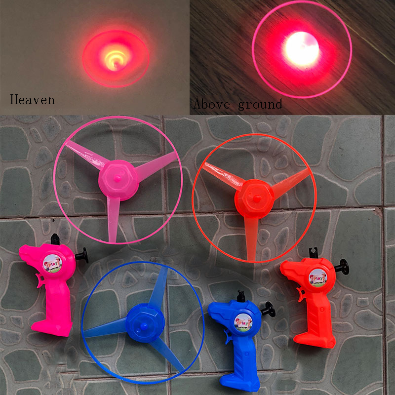 2019New Pull Wire LED Light Plate Outdoor Sport Toys Three-color Lighting Bamboo Raft Flyings Fairy Manual Push Shot Helicopter