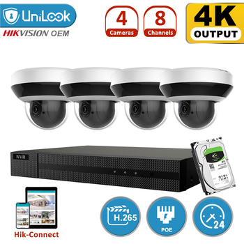 Hikvision OEM Product 8CH NVR With 4/6/8 PCS 4MP IP Camera Support 4X Zoom Built in Microphone H.265 Kit Outdoor Cam