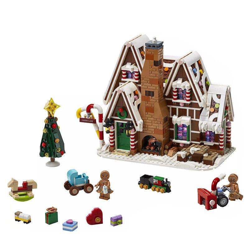 2020 City Creator Winter Village Holiday Scene Gingerbread House Santa Claus Building Blocks Bricks Legoinglys Toys Gift 10267