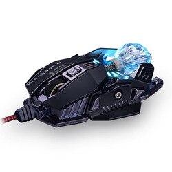 KCPDS mysz do gier ergonomiczna przewodowa mysz 8-LED 4000 DPI optyczne makro programowalny komputer USB mysz przewodowa mysz do gier dowcip