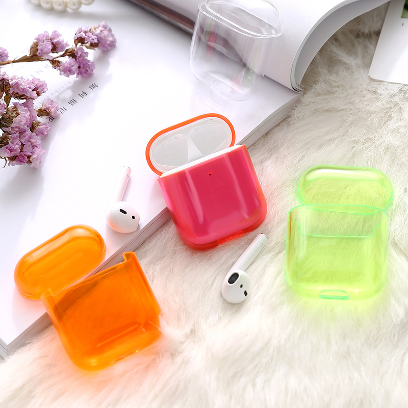 Image 2 - 1/2 Candy Color Case Cute Transparent Cover For AirPods Earphone Thin Case Protector Charging Box-in Earphone Accessories from Consumer Electronics