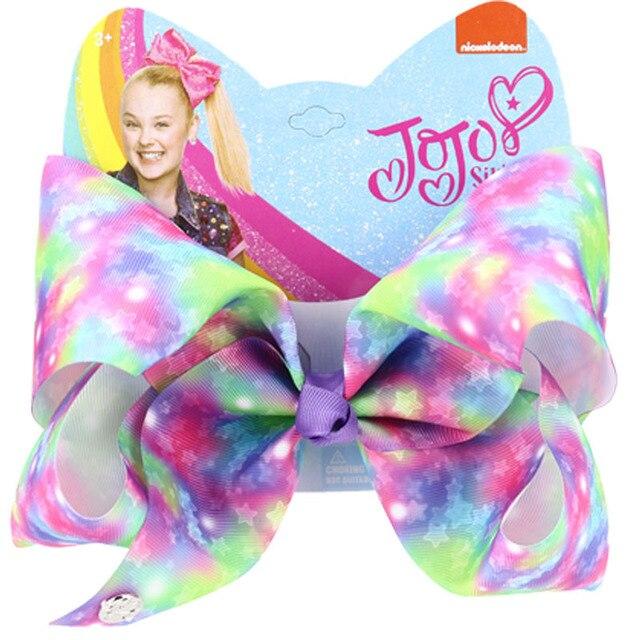 8 Inch JOJO Valentine/'s Day Love Big Hair Bow Rainbow Bow Hair Clip Lssed AaGVx