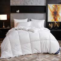 Одеяло на гусином/утином пуху, одеяло для зимы/лета, белый Хлопковый чехол, толстое одеяло, двуспальный размер, быстрая бесплатная доставка