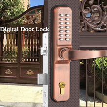 Waterproof Villa Lock Smart Digital Door Lock Keypad Mechanical Key lock Long handle Passage Mode 3585 Latch Mortise Gate Opener