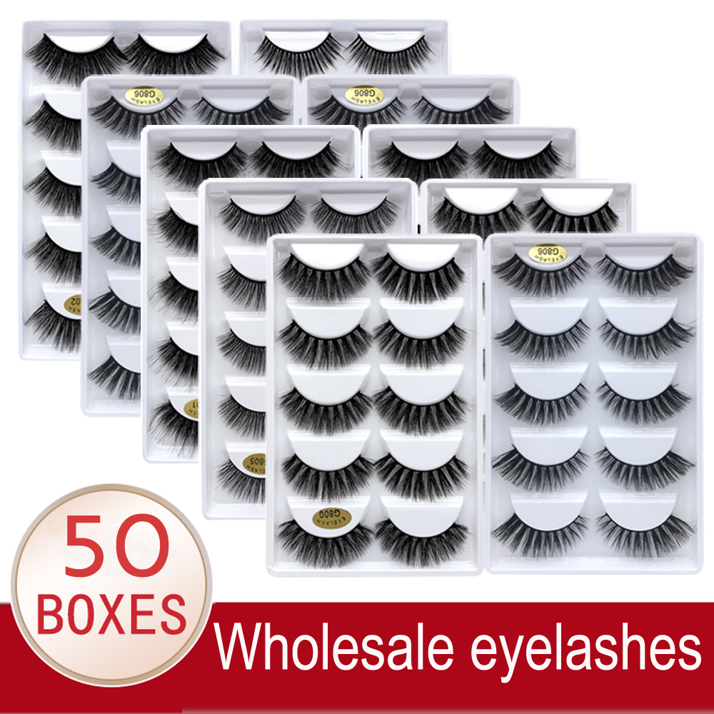 Wholesale Eyelashes 20/30/50 Boxes 5 Pairs 3D Mink Lashes Bulk Natural False Eyelashes Soft Makeup Eye Lashes Cilios G806 G800