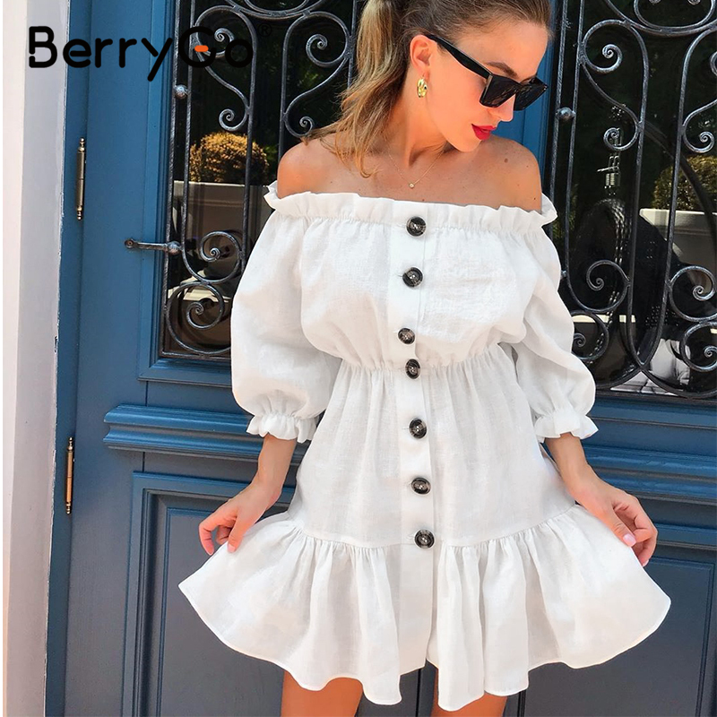 BerryGo Off Shoulder Sexy Summer Dress Women Elegant Ruffle Mini White Cotton Dress High Waist Button Holiday Beach Dress Female
