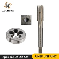 2pcs UNEF UNF UNC Thread Tap and Die Set Machine Tapping Plug Tap Die HSS Screw Thread Tap Set Metal Drilling Tools