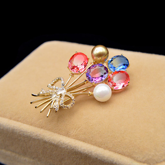 CINDY XIANG Omber Color Cubic Zirconia Balloon Brooches For Women Spring Desgin Valentines Day Jewelry Beautiful Pin