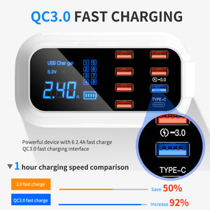 Image 2 - LCD Digital Display Chargeur 8 Ports USB Für Xiaomi Huawei Samsung iPhone Android Adaptateur Telefon Tragbare Chargeur XEDAIN