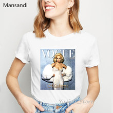 Sexy Superstar Madonna printed vogue t shirt femme white summer tops female 90s 00s tees Korean clothes streetwear vintage shirt(China)